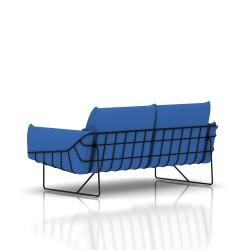 Canapé Wireframe Herman Miller 2 places - noir - Tissu Hopsak Cobalt Blue