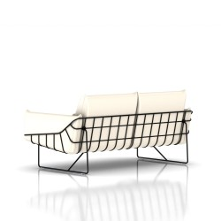 Canapé Wireframe Herman Miller 2 places - noir - Cuir Ivory