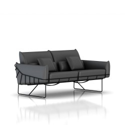 Canapé Wireframe Herman Miller 2 places - noir - Cuir Smoke