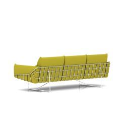 Canapé Wireframe Herman Miller 3 places - blanc - Tissu Hopsak Yellow Dark