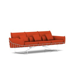 Canapé Wireframe Herman Miller 3 places - blanc - Tissu Hopsak Orange