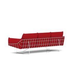 Canapé Wireframe Herman Miller 3 places - blanc - Tissu Hopsak Crimson