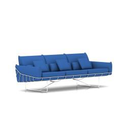 Canapé Wireframe Herman Miller 3 places - blanc - Tissu Hopsak Cobalt Blue