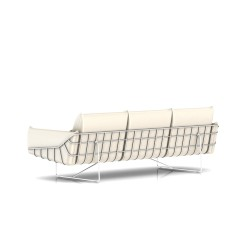 Canapé Wireframe Herman Miller 3 places - blanc - Cuir Ivory