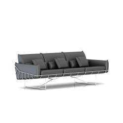 Canapé Wireframe Herman Miller 3 places - blanc - Cuir Smoke