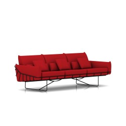 Canapé Wireframe Herman Miller 3 places - noir - Tissu Hopsak Crimson