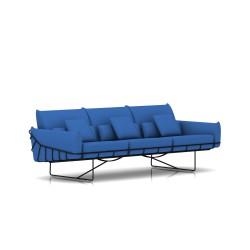 Canapé Wireframe Herman Miller 3 places - noir - Tissu Hopsak Cobalt Blue