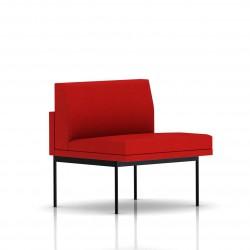 Fauteuil Tuxedo Herman Miller 1 place - structure noire - Tissu Ottoman Rouge
