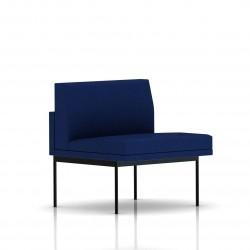Fauteuil Tuxedo Herman Miller 1 place - structure noire - Tissu Ottoman Bleu