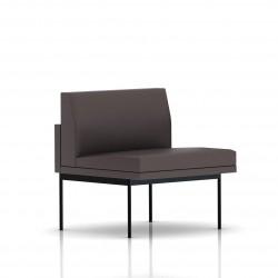 Fauteuil Tuxedo Herman Miller 1 place - structure noire - Cuir MCL Espresso