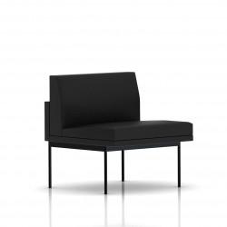 Fauteuil Tuxedo Herman Miller 1 place - structure noire - Cuir MCL Noir