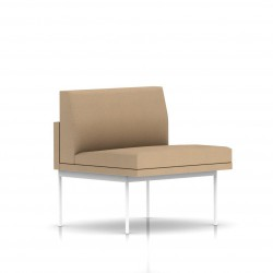 Fauteuil Tuxedo Herman Miller 1 place - structure blanche - Tissu Ottoman Camel