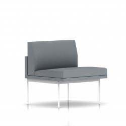 Fauteuil Tuxedo Herman Miller 1 place - structure blanche - Tissu Ottoman Oxford
