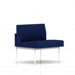 Fauteuil Tuxedo Herman Miller 1 place - structure blanche - Tissu Ottoman Bleu