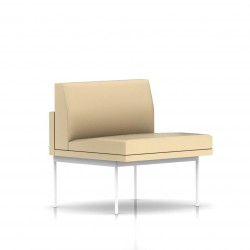 Fauteuil Tuxedo Herman Miller 1 place - structure blanche - Cuir MCL Almond