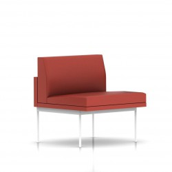 Fauteuil Tuxedo Herman Miller 1 place - structure blanche - Cuir MCL Rouge