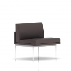 Fauteuil Tuxedo Herman Miller 1 place - structure blanche - Cuir MCL Espresso