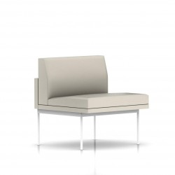 Fauteuil Tuxedo Herman Miller 1 place - structure blanche - Cuir MCL Stone