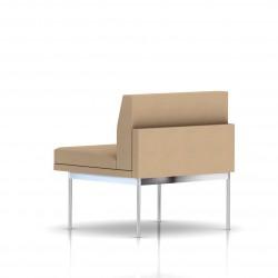 Fauteuil Tuxedo Herman Miller 1 place - structure chromée - Tissu Ottoman Camel
