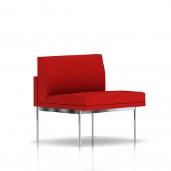 Fauteuil Tuxedo Herman Miller 1 place - structure chromée - Tissu Ottoman Rouge