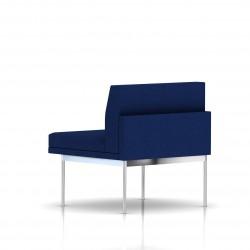 Fauteuil Tuxedo Herman Miller 1 place - structure chromée - Tissu Ottoman Bleu