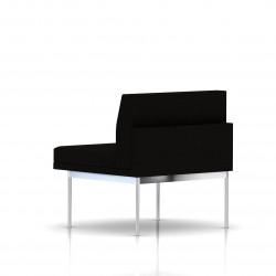 Fauteuil Tuxedo Herman Miller 1 place - structure chromée - Tissu Ottoman Noir
