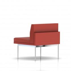 Fauteuil Tuxedo Herman Miller 1 place - structure chromée - Cuir MCL Rouge