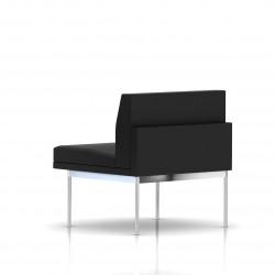 Fauteuil Tuxedo Herman Miller 1 place - structure chromée - Cuir MCL Noir