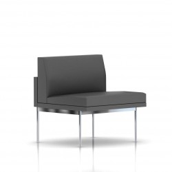 Fauteuil Tuxedo Herman Miller 1 place - structure satin chrome - Cuir MCL Lava