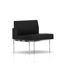 Fauteuil Tuxedo Herman Miller 1 place - structure satin chrome - Cuir MCL Noir