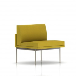 Fauteuil Tuxedo Herman Miller 1 place - structure satin chrome - Tissu Ottoman Citron
