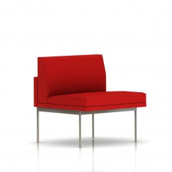 Fauteuil Tuxedo Herman Miller 1 place - structure satin chrome - Tissu Ottoman Rouge