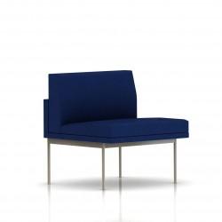 Fauteuil Tuxedo Herman Miller 1 place - structure satin chrome - Tissu Ottoman Bleu