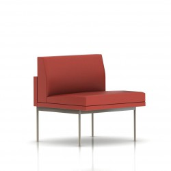 Fauteuil Tuxedo Herman Miller 1 place - structure satin chrome - Cuir MCL Rouge