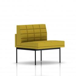 Fauteuil Tuxedo Herman Miller 1 place - structure noire - Surpiqures - Tissu Ottoman Citron