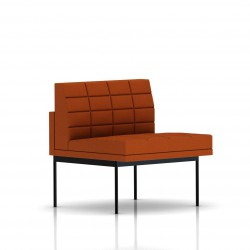 Fauteuil Tuxedo Herman Miller 1 place - structure noire - Surpiqures -  Tissu Ottoman Luggage