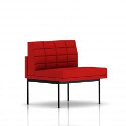 Fauteuil Tuxedo Herman Miller 1 place - structure noire - Surpiqures -  Tissu Ottoman Rouge