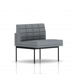 Fauteuil Tuxedo Herman Miller 1 place - structure noire - Surpiqures - Tissu Ottoman Oxford