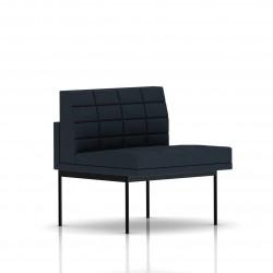 Fauteuil Tuxedo Herman Miller 1 place - structure noire - Surpiqures - Tissu Ottoman Cadet