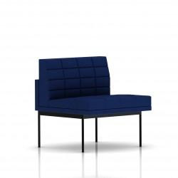 Fauteuil Tuxedo Herman Miller 1 place - structure noire - Surpiqures - Tissu Ottoman Bleu