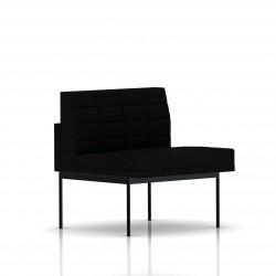 Fauteuil Tuxedo Herman Miller 1 place - structure noire - Surpiqures - Tissu Ottoman Noir