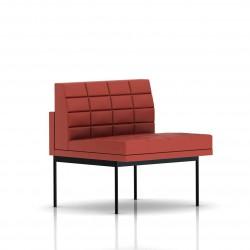 Fauteuil Tuxedo Herman Miller 1 place - structure noire - Surpiqures - Cuir MCL Rouge