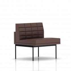Fauteuil Tuxedo Herman Miller 1 place - structure noire - Surpiqures - Cuir MCL Brun