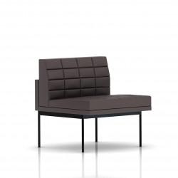 Fauteuil Tuxedo Herman Miller 1 place - structure noire - Surpiqures - Cuir MCL Espresso