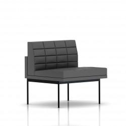 Fauteuil Tuxedo Herman Miller 1 place - structure noire - Surpiqures - Cuir MCL Lava