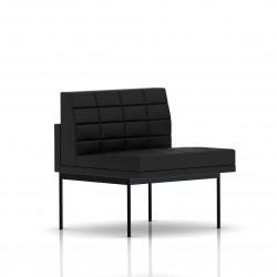 Fauteuil Tuxedo Herman Miller 1 place - structure noire - Surpiqures - Cuir MCL Noir