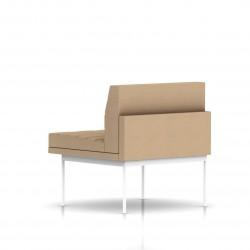 Fauteuil Tuxedo Herman Miller 1 place - structure blanche - Surpiqures - Tissu Ottoman Camel
