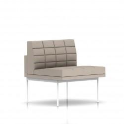 Fauteuil Tuxedo Herman Miller 1 place - structure blanche - Surpiqures - Tissu Ottoman Stone