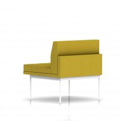 Fauteuil Tuxedo Herman Miller 1 place - structure blanche - Surpiqures - Tissu Ottoman Citron
