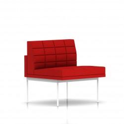 Fauteuil Tuxedo Herman Miller 1 place - structure blanche - Surpiqures - Tissu Ottoman Rouge